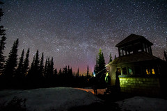 Milky Way Over The Fire Tower (g.beubry) Tags: sky stars milky way aurora northern lights pine tree snow night manning park bc british columbia canada provincial voie lactee aurole boreale