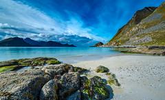 Haukland Beach (Nosetan) Tags: blue beach black big cloudy colur cold sun wind light landscape life live alone natur nature norway stone sea sky