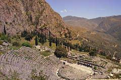 Delphi, Τhe Center of the World | Δελφοί, Ο Ομφαλός της γης (born to be an artist) Tags: delfi ancient greek monument mountain view theater historic trees nature harmony sky greenandblue centeroftheworld