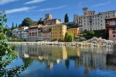 Bassano del Grappa fiume Brenta (carlocorv1) Tags: fiume cielo case riflessione colori azzurro