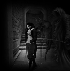 I walk through the valley of the shadow of death (kay_1806) Tags: damian angel avatar wings fallen dark gothic goth alone desire dom dream heaven hell tmp gb hair black boots sexy secondlife skin pose portrait photo photograph