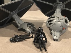 """Tie Fighter Duel - TVC vs Force Link 2.0 - while the force link has a really cool """"crash"""" feature,  TVC Pilot can escape via a highly detailed ejector seat!!! 🍻🍻🍻 (skott00) Tags: pilot tiefighter toy 375 hasbro actionfigure starwars"""