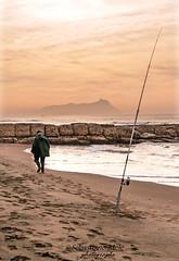 il Pescatore (ninomele) Tags: mare sea fisherman latina sunset circeo italy canon colors beach 24105mm
