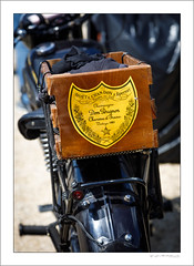 Clearly a rider with taste (G. Postlethwaite esq.) Tags: dof derbyshire domperignon epernay heage unlimitedphotos bokeh champagne classicbikes depthoffield fizz motorbike motorcycle photoborder selectivefocus topbox windmill