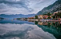 Early morning, Kotor - Montenegro (Vest der ute) Tags: xt20 water sea city montenegro earlymorning sky clouds mountain buildings boat reflections mirror fav25