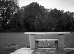 Kunstroute N34 (Ernst-Jan de Vries) Tags: n34 drenthe drente hunebedhighway bw zw kunst beton concrete art landart bank stoel chair bench couch 120 645 analog analogue analoog film scan foma fomapan perceptol homedevelopment darkroom doka mediumformat middenformaat mittelformat