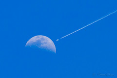 Collision Course (sdowen) Tags: airplane airline airliner moon luna daytime sky
