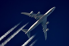 Cargolux Boeing 747F LX-VCK (stephenjones6) Tags: jet civil aviation plane aircraft blue sky boeing b747 b747f freighter cargo cargolux luxembourg nikon d3200 skywatcher telescope dobsonian chemtrail vapour vapourtrail ott extremespotting msn38078 b7478r7f