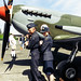 Dave and Friend Showing Off the RCAF Patch With the Spitfire Mark IXe