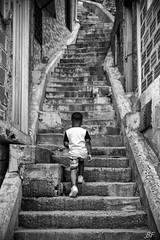 My Everest ! (poupette1957) Tags: atmosphère architecture black canon city curious children colombie grandangle humanisme imagesingulières jeune life medellin comuna13 noiretblanc noir photographie people rue street stairs town travel urban voyage ville