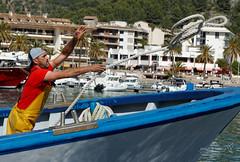 Soller 31 May 2013-234.jpg (JamesPDeans.co.uk) Tags: spain majorca mallorca portdesoller europe sóller balearicislands harbour fishingboat fisherman rope throw action sea mediterranean summer
