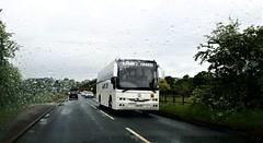 Saxon Travel Coach, Doncaster. (ManOfYorkshire) Tags: via137 p356vwr wet day spring saxon travel coach bus doncaster volvo b10m b10m62 jonkheere