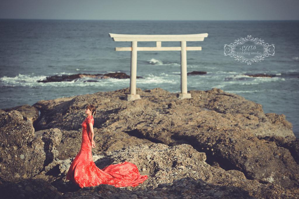日本海外婚紗,茨城大洗磯前神社神磯鳥居拍婚紗,茨城婚紗,茨城推薦景點,視覺流感婚紗攝影