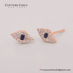 Diamond Pave Evil Eye Design Stud Earrings Blue Sapphire Gemstone 14k Rose Gold (couturechics.facebook1) Tags: diamond pave evil eye design stud earrings blue sapphire gemstone 14k rose gold