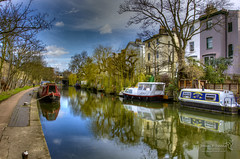 Regents Canal 27 March 2015-003.jpg (JamesPDeans.co.uk) Tags: landscape ships freshwaterboats gb reflection transporttransportinfrastructure boats canals unitedkingdom water london camera hdr objects longboats britain england greatbritain europe uk industry