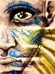 Odyssey (franck.sastre) Tags: eyes lips blue visage art painting picture luz