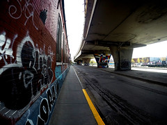Van Horne Viaduct (Montreal) (MassiveKontent) Tags: overpass road viaduct shadows noiretblanc blackwhite montreal bw contrast city urban streetphoto montréal quebec canada streetphotography bwphotography gopro fisheye streetart graffiti
