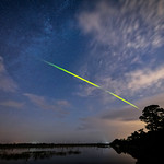 Green fireball meteor from the Eta Aquarid Meteor Shower around 5 a.m. in Babcock Wildlife Management Area near Punta Gorda, Florida thumbnail