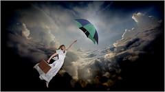 REMY SOPHIE ENVOL V2 (REMYRO) Tags: color cool design tableau robe concept illustration art style femme beauté beauty envol ciel surréaliste couleur lumière peinture mariée valise parapluie élégance voyage