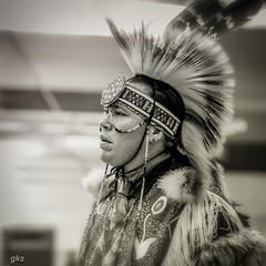 Pow Wow dancer, Vancouver, BC (gks18) Tags: dancer aboriginal canon lightroom nik people sepia regalia noiretblanc blackandwhite bw
