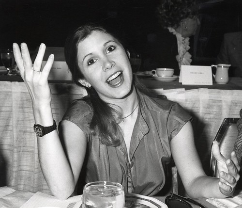Carrie Fisher during the 31st Annual Golden Apple Awards at the Waldorf Astoria in New York City, November 16, 1977. Photo by Ron Galella
