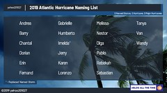hurricane_names_2019_atlantic (yahoo201027) Tags: hurricane atlantic season 2019 andrea barry chantal dorian erin fernand gabrielle humberto imelda jerry karen lorenzo melissa nestor olga pablo rebekah sebastein tanya van wendy