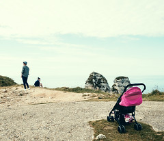 And now ... for something completely different (macplatti) Tags: life reproduction generation pair paar nachkomme baby buggy future zukunft étretat normandy france
