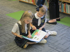 Holy Heroes: Reading together in the library (st.brigid2) Tags: library