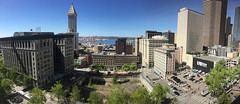 View from City Hall - 7th floor balcony (Seattle Department of Transportation) Tags: seattle sdot transportation view city hall 7th floor smith tower waterfront cranes panorama king county administration building hole vacant block civic square someday bosadevelopment trees cherry james 4th 3rd
