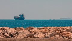 sea song (lauracastillo5) Tags: sea seascape seashore ocean blue calm rocks sand horizon beach beautiful malaga spain sky ship