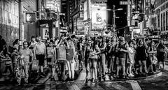Pedestrian Flow Zone (Gordon McCallum) Tags: timessquare tourists nyc newyork newyorkstreetscene blackandwhite sony sonya6000 signs people crossing w45thst