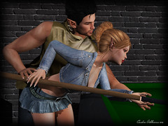 Playing Pool (Cenedra Ashbourne) Tags: genus genusproject genushead genusheadbabyface babyface 7deadlyskins 7ds butterflyshapes maitreya izzies powderpack swallow mina gas catwa slink ikon mandala dura mata posefair newrelease event slevent firestorm firestormviewer mesh meshhead meshbody applier secondlife sl fashion slfashion photography photoshop photoediting editing photomanipulation slphotography pixelphotography shadows dof pixels blog blogger blogpost blogspot blogging woman female man male couple romantic love avatar virtualworld