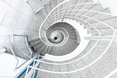 Blue Notes I (bjoernahrensfotografie) Tags: munich münchen architektur architecture lookup lookdown minimal abstract staircase stairway stairs escalier treppe treppenhaus spiral