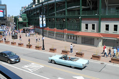 (Flint Foto Factory) Tags: chicago illinois urban city spring may 2019 cincodemayo may5th sunny sunday game day chicagocubs baseball sports team dutchdocs 3600 nclarkst clark addison intersection brunch 1967 cadillac coupe deville convertible powder blue generalmotors gm luxury car dream boat wrigleyfield cubbybear bar restaurant openair dining