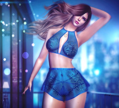 Love yourself for who you are (Jessy30000 Naglo) Tags: narcisse exile genus dolliciouscloset jessy3000naglo lingerie blue fashio second secondlife maitreya bloggers sky woman night balcony