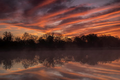 Foggy sunrise at Maplewood Park. (Kevin Povenz Thanks for all the views and comments) Tags: 2019 may kevinpovenz westmichigan michigan maplewoodpark sunrise early earlymorning morning morningsky outside outdoors sun reflection trees sigma canon7dmarkii clouds red orange yellow