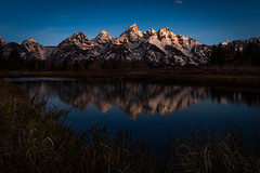 First Light (James Duckworth) Tags: grandtetons jacksonhole jamesduckworthphotography snakeriver wyoming alone dark grasses mountainpeaks mountains nobody reflection river water