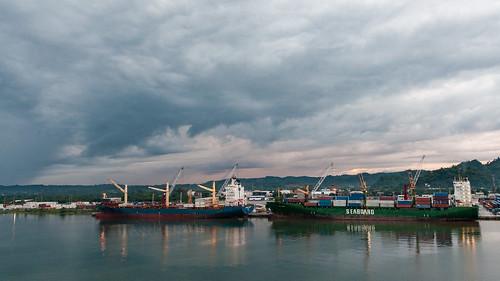 Ships docked in the Port of Santo Tomas de Castilla, Guatemala