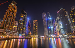 Night view of Dubai Marina (phuong.sg@gmail.com) Tags: arab architecture aspirational background blue boat building business city crane dinner dubai east emirates evening futuristic hour light luxury marine metropolis millionaire modern nature night reflections residential sky skyline skyscraper stars success tourism tower travel uae united view wealth
