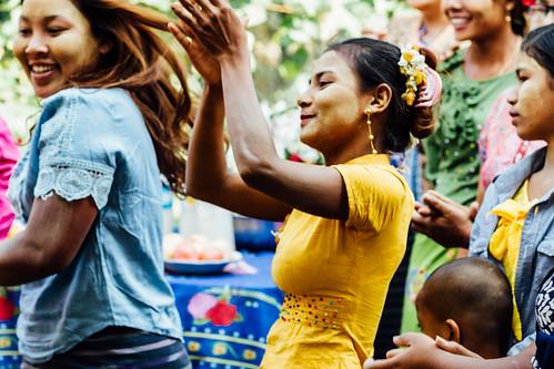 Woman Dancing at Nat Pwe Ceremony, Mandalay Myanmar
