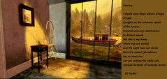 Leaving - art by Ladmilla, poem by Eli Medier (Ladmilla) Tags: sl secondlife zimminyville art digitalart theedge theedgeartgallery interiors room window chair rays light ship poetry poem sea wood