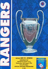 Rangers vs AEK Athens - 1994 - Cover Page (The Sky Strikers) Tags: rangers aek athens european cup ibrox stadium official matchday programme one pound