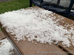 May 6, 2019 - Hail accumulates in Thornton. (Heidi Armstrong Khoury)