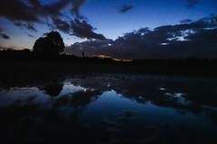 Puddle Pic (Tim Loesch) Tags: newjersey mercercounty nj reflection puddle moon clouds sky
