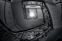 a piece of sky (kuestenkind) Tags: treppenhaus staircase schwarzweis blackandwhite licht light weitwinkel fisheye bnw hamburg