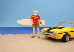 The Old Man and the Sea (vir-a-cocha) Tags: lego oldman surfer sea car dodge challenger 1970 sand viracocha beach