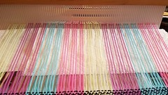 Front heddle up. Three shaft weaving on rh loom (Sweet Annie Woods) Tags: