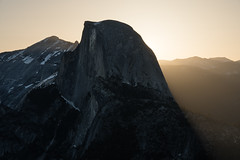 Shadow Dome (Kurt Lawson) Tags: california cliff glow granite halfdome haze monolith mountains national nevada park shadow sierra sunrise valley yosemite