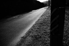 Bright road (y uzen (犬も歩けば…)) Tags: bw monochrome road electricpole utilitypole grass lightandshadow japaninbw