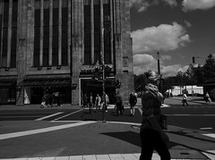 early summer@Kö-Graben, Düsseldorf (Amselchen) Tags: city street streetphotography streetsnap people pedestrians bnw blackandwhite light shadow mono monochrome panasonic citylife urban germany leicadglens lmonochromed panasonicdcgx9 leicadgsummilux15f17